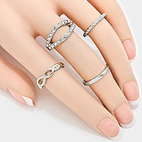 4-PCS Crystal Accented Metal Ring Set