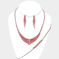 3-PCS Crystal Rhinestone Necklace Jewelry Set