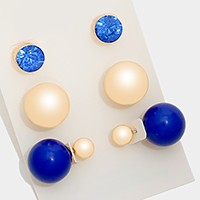 3 Pairs - Double sided metal ball stud earrings