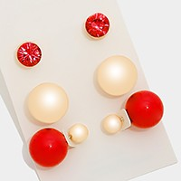 3 Pairs - Double sided peekaboo metal ball stud earrings