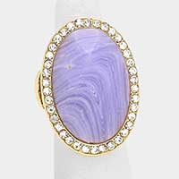 Crystal trim semi precious stone stretch ring