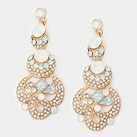 Layered crystal rhinestone bubble evening earrings