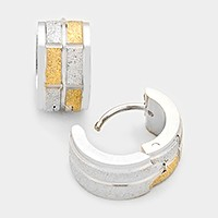 Two tone hypoallergenic stainless steel metal huggie hoop earrings