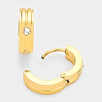 Crystal detail hypoallergenic stainless steel metal huggie hoop earrings