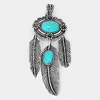 Metal dream catcher feather & turquoise pendant