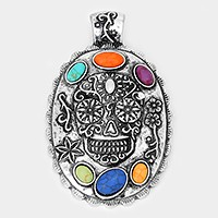 Metal day of the dead skull  & howlite stone pendant