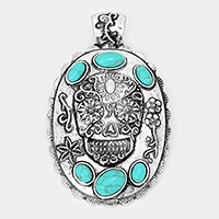 Metal day of the dead skull  & turquoise pendant
