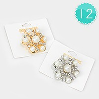 12 PCS - Crystal & pearl flower brooches