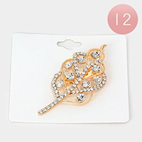12 PCS - Crystal leaf brooches