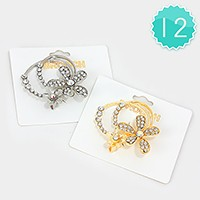12 PCS - Double crystal flower brooches