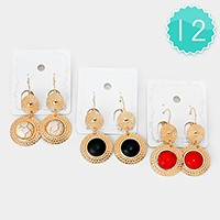 12 Pairs - Natural stone earrings