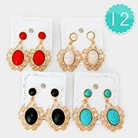 12 Pairs - Double natural stone earrings