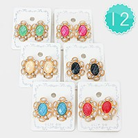 12 Pairs - Glitter stone & crystal earrings
