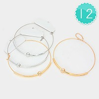 12 PCS - Metal tube wire choker necklaces