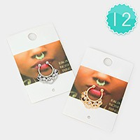 12 PCS - Crystal bubble nose rings
