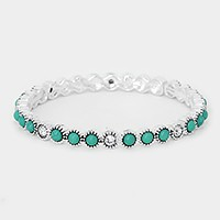 Crystal & turquoise stretch bracelet