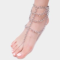 Draped metal foot chain anklet