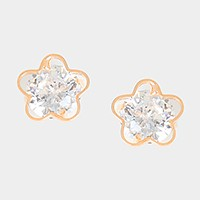 14 K gold plated crystal cubic zirconia CZ flower stud earrings