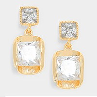 14 K gold plated square crystal cubic zirconia CZ earrings