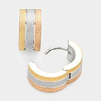 Three tone hypoallergenic stainless steel metal huggie hoop earrings
