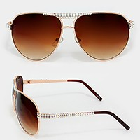 Crystal Ombre Aviator Sunglasses
