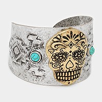 Day of the dead skull metal cuff bracelet