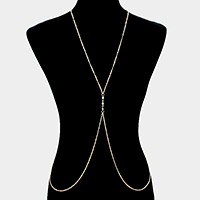 Crystal detail metal body chain necklace