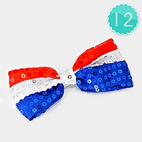12 PCS - Sequin American flag bow hair barrette clips