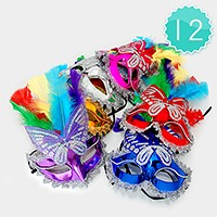 12 PCS - Sequin Butterfly Venetian Masquerade Half Masks with Feather