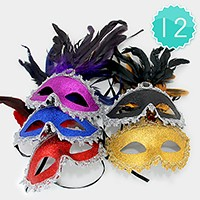 12 PCS - Glitter Venetian Masquerade Half Masks with Feather