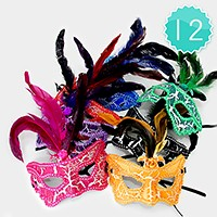 12 PCS - Venetian Masquerade Half Masks with Feather