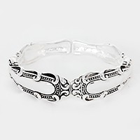 Filigree metal spoon handle stretch bracelet