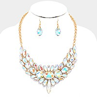 Marquise crystal rhinestone statement evening necklace