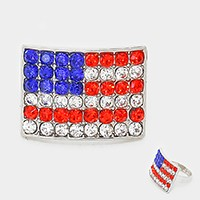 Crystal rhinestone American flag ring