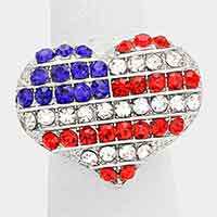Crystal rhinestone American flag heart ring