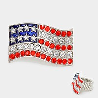 Crystal rhinestone American flag stretch ring