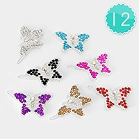 12 PCS - Crystal butterfly hair clip barrettes