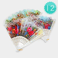 12 PCS - Lace flower folding fans