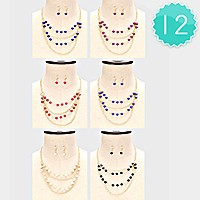 12 PCS - Multi-layer beaded necklaces