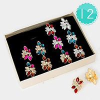 12 PCS - Crystal cocktail rings