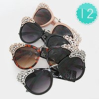 12 Pairs - Crystal metal accented sunglasses