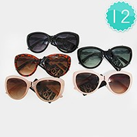 12 Pairs - Semi cat eye sunglasses with crystal on the temples