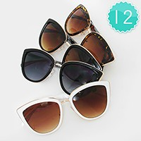 12 Pairs - Enamel cat eye sunglasses