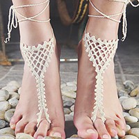 1 Pair - Crochet lace up anklets