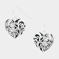 Metal filigree heart earrings