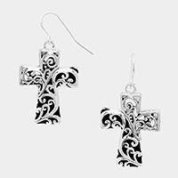 Metal filigree cross earrings