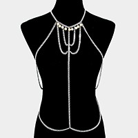 Pearl charm draped metal body chain necklace