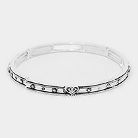 Crystal heart accented thin metal stretch bracelet