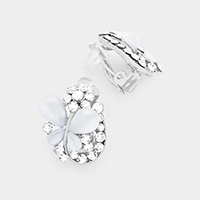 Crystal Butterfly Floral Clip On Earrings