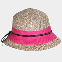Two tone short brim paper straw sun hat